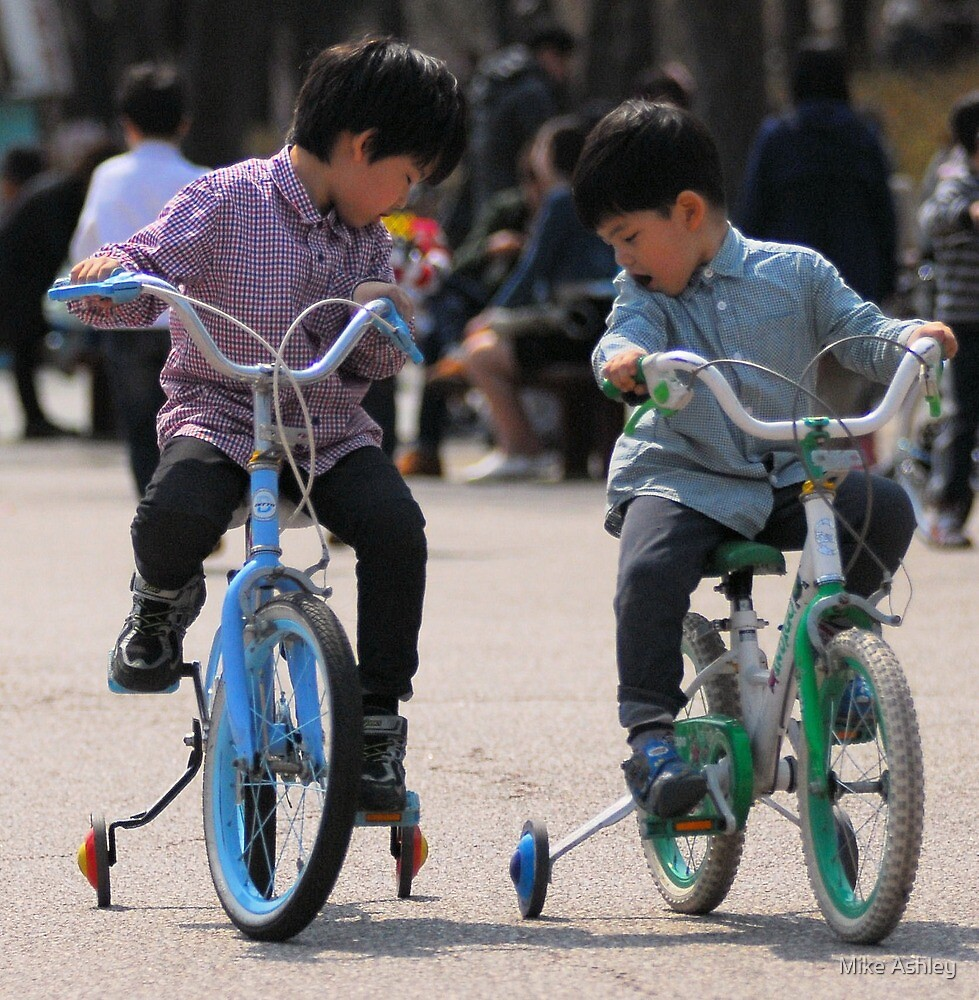 2 Brothers Learning to Ride Bikes by Mike Ashley