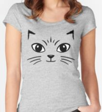 Cat Face Women's Fitted Scoop T-Shirt