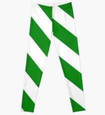 Green Candy Cane Stripes Leggings