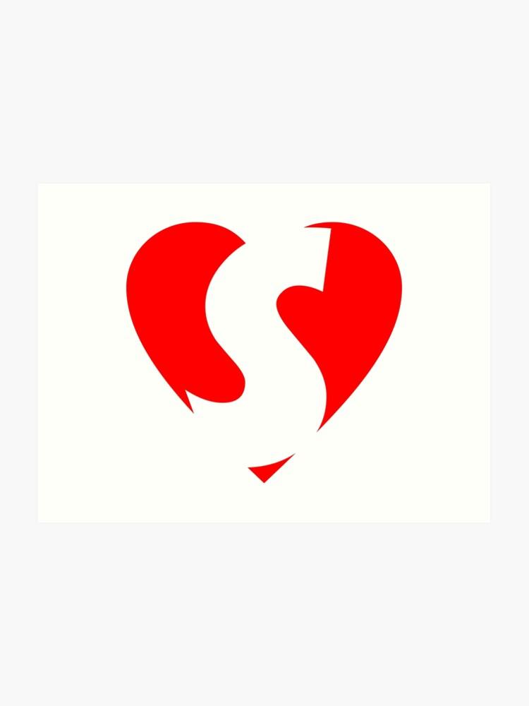 I Love S Heart S Heart With Letter S Art Print