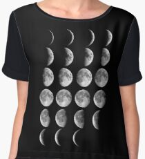 Astronomy Chart, Phases of the Moon, Lunar chart Women's Chiffon Top