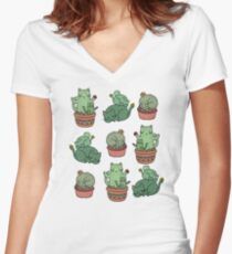 Camiseta entallada de cuello en V Gatos de Cactus