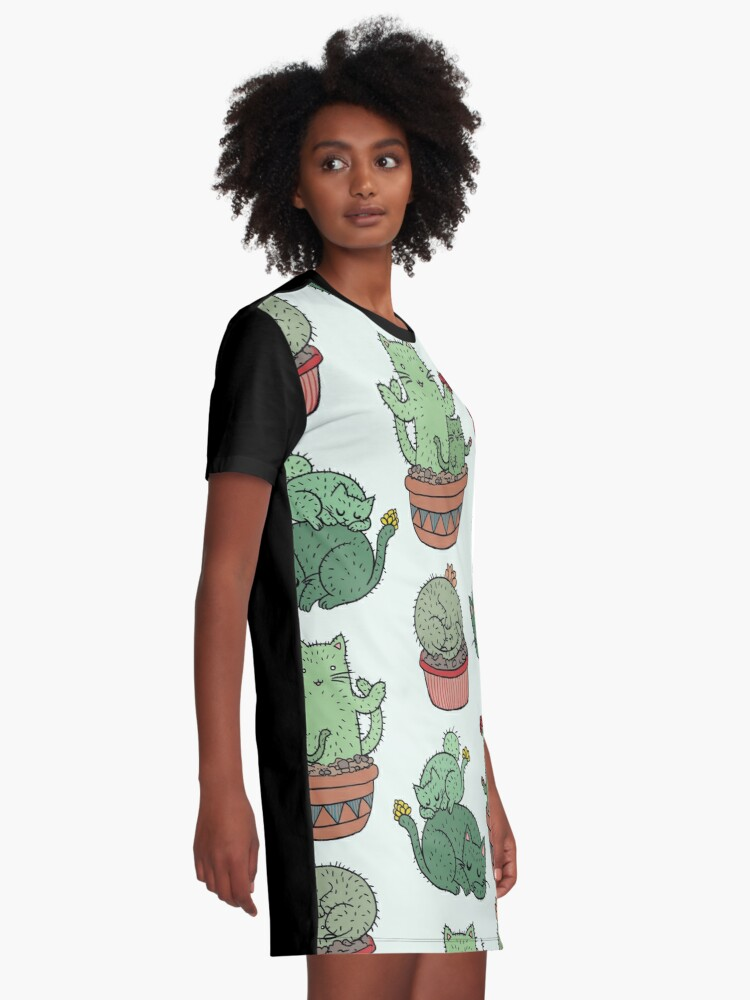 Alternate view of Cactus Cats Graphic T-Shirt Dress