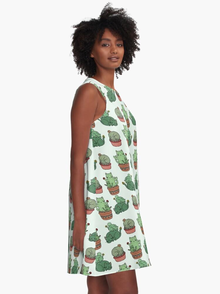 Alternate view of Cactus Cats A-Line Dress