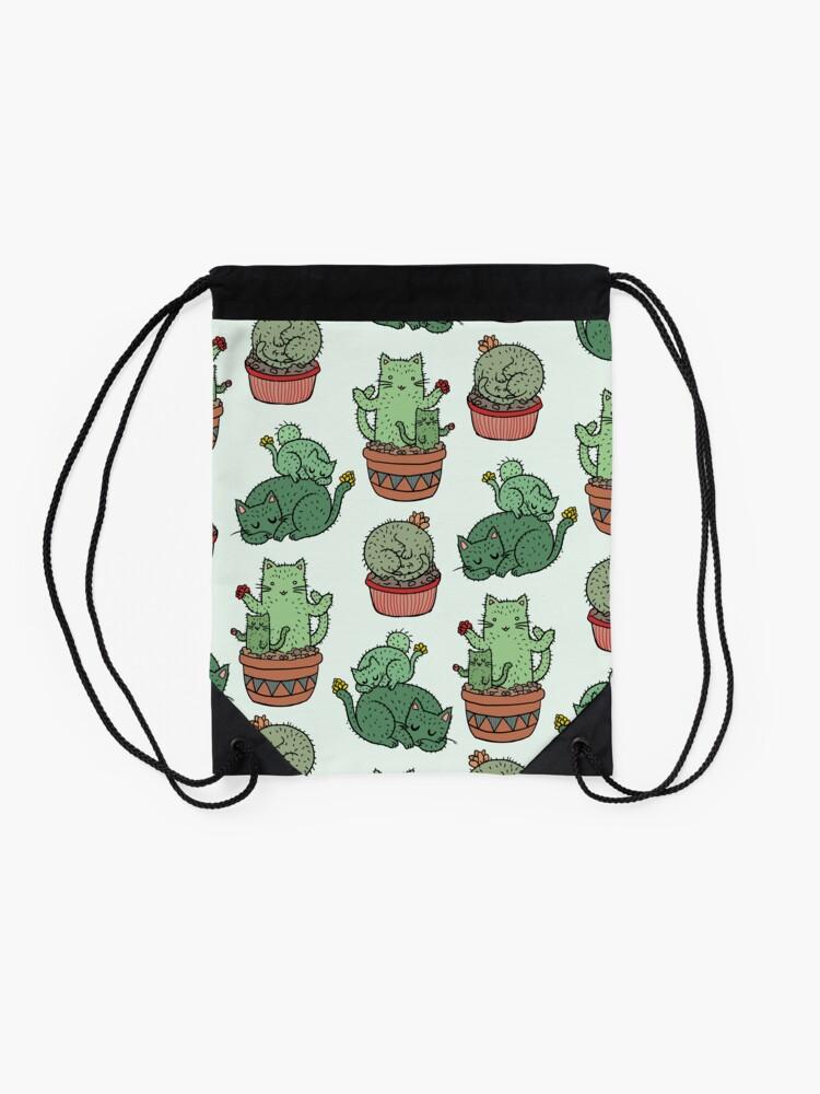 Alternate view of Cactus Cats Drawstring Bag