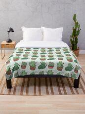 Cactus Cats Throw Blanket