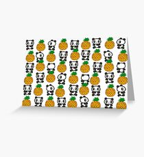 Pandas And Pineapples Pattern 1 Greeting Card