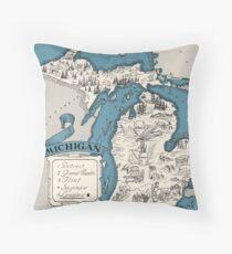 Vintage Michigan-Zustandskarte 1926 - Weihnachtsgeschenkidee Dekokissen