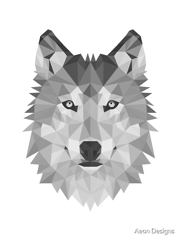 Quot Geometric Wolf B Amp W Quot Stickers By Aeon Designs Redbubble