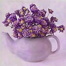 Tea Pot Of Purple Columbine Flowers  by Sandra Foster