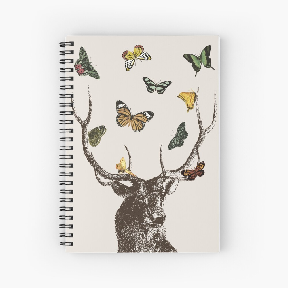 The Stag and Butterflies | Deer and Butterflies | Vintage Stag | Antlers | Woodland | Highland |  Spiral Notebook