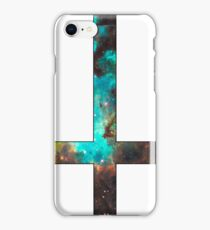 Green Galaxy Inverted Cross White iPhone Case/Skin