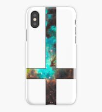 Green Galaxy Inverted Cross White iPhone Case