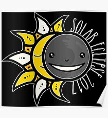 Solar Eclipse Shirt  - August 21, 2017 - Minimal Colors Black Poster