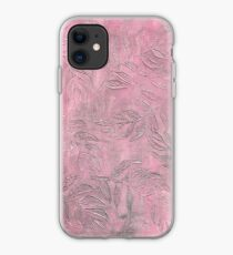 Pink Stamped Textured Fern Leaves iPhone Case