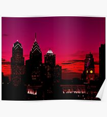 Philadelphia Skyline Sundown  Poster