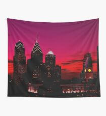 Philadelphia Skyline Sundown  Wall Tapestry