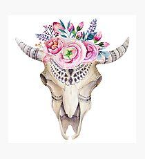 Sheepskull floral bohemian chic Photographic Print