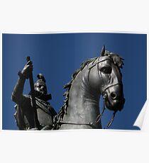 Pigeon atop Philip III atop horse, Plaza Mayor, Madrid Poster