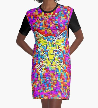 Lemon Cat Graphic T-Shirt Dress