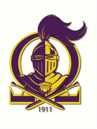 Omega Purple Gold Que Psi Phi Knight Shield Art Prints By A O