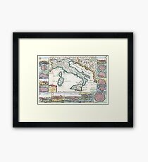 Antique Map - De LaFeuille's New Map of Italy (1706) Framed Print