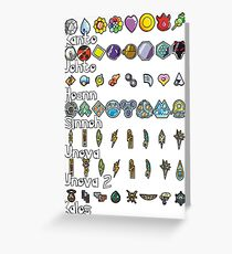 Pokemon Badges Greeting Card