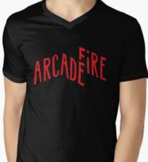 """Red Logo"" of Arcade Fire Men's V-Neck T-Shirt"