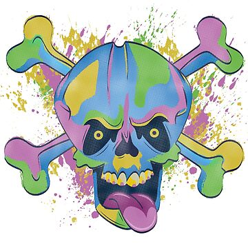 Freaky Colorful Skull by caitdesign