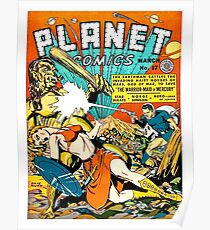 Space battle against hords from Mars, sci-fi comics, poster Poster