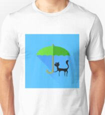 Black Cat and Green Umbrella Unisex T-Shirt