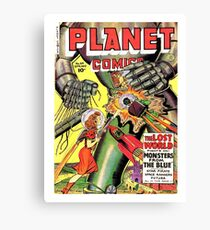 Lost world, monsters, sci-fi comics, cover, poster Canvas Print