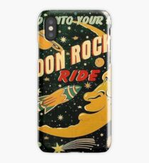 Moon rocket ride, funny space illustration poster iPhone Case