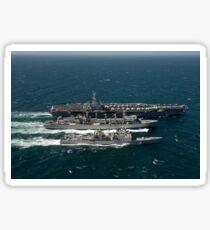 Underway replenishment at sea with U.S. Navy ships in the Arabian Gulf. Sticker
