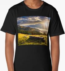 coniferous forest in foggy Romanian mountains at sunset Long T-Shirt