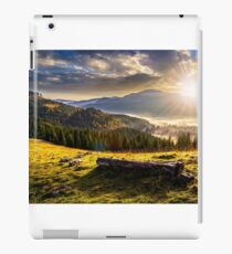 coniferous forest in foggy Romanian mountains at sunset iPad Case/Skin