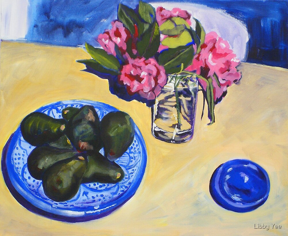 camellias and avocados by Libby Yee