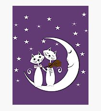 Whimsy Cute Cats Serenade Sitting On A Crescent Moon Photographic Print