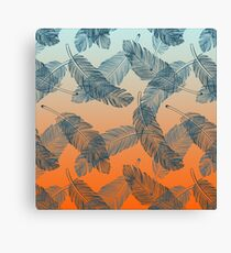 Blue Feathers Pattern Canvas Print