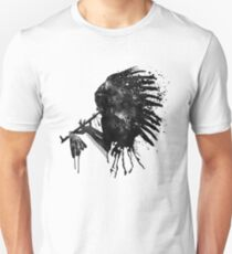Indian with Headdress Black and White Silhouette T-Shirt