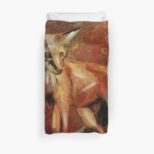Abstract Red Fox Duvet Cover