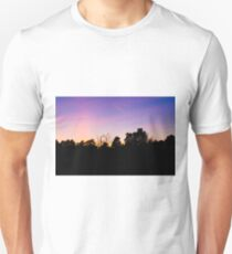 Sunset over forest silhouette with jet flying overhead Unisex T-Shirt