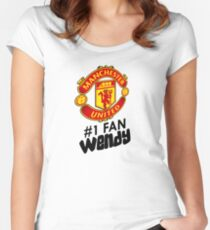 Manchester United #1 Fan - WENDY (Customize your own name!) Women's Fitted Scoop T-Shirt