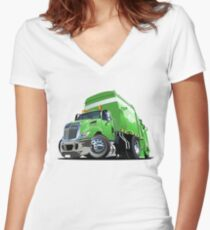 Cartoon Garbage Truck Women's Fitted V-Neck T-Shirt