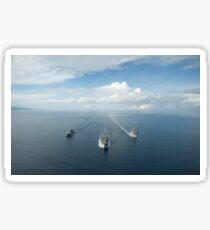 USNS Matthew Perry, USS Pearl Harbor and HMNZS Canterbury transit the Vella Gulf. Sticker