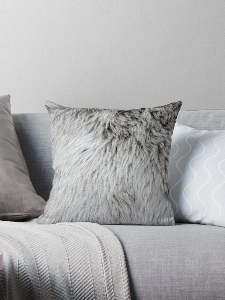 Faux Fur Decorative Pillow.Close Up Of Grey Faux Fur Throw Pillow By Lauren Squire