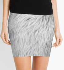 Close-up of grey faux fur Mini Skirt