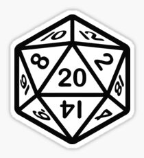 20 face dice sticker D&D Sticker