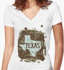 Texas grunge ink map print Women's Fitted V-Neck T-Shirt