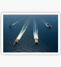 Military ships in formation off the coast of Southern California. Sticker